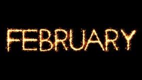 Animación del lazo del fuego artificial de las chispas del brillo de la bengala del texto de febrero libre illustration