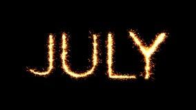 Animación del lazo del fuego artificial de las chispas del brillo de la bengala del texto de julio almacen de metraje de vídeo