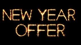 Animación del lazo del fuego artificial de las chispas del brillo de la bengala del texto de la oferta del Año Nuevo ilustración del vector