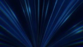 Animación del movimiento de neón azul colorido de los rayos del igual en túnel de neón abstracto en el fondo oscuro Abstracción c ilustración del vector
