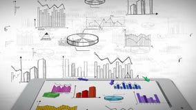 Animación del negocio, del márketing y del garabato colorido financiero de la información de la estadística en tableta elegante d ilustración del vector