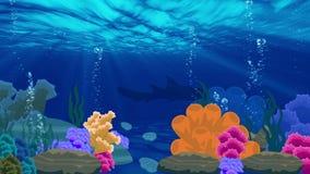 Animación del paisaje beuty subacuático del océano ilustración del vector