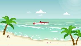 Animación del paisaje de la playa de la belleza con la palmera ilustración del vector