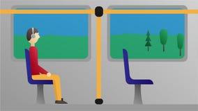 Animación del pasajero en el autobús, vídeo con el canal alfa incluido libre illustration