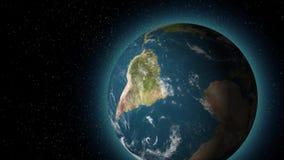 Animación del planeta de la tierra en espacio stock de ilustración