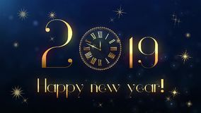 Animación del reloj del texto de la Feliz Año Nuevo ilustración del vector