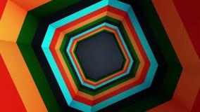 Animación del túnel colorido del octágono Octágono del arco iris Un tipo animado simple vídeo del túnel Colorido y eficaz metrajes