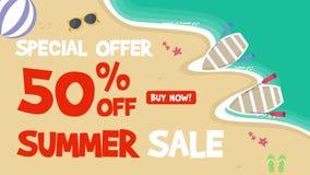 Animación del tema de la venta del verano ilustración del vector