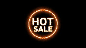 Animación del texto caliente de la venta con efecto de fuego almacen de metraje de vídeo