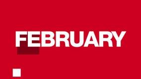 Animación del texto de febrero (lazo de HD) stock de ilustración
