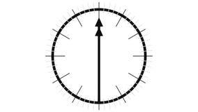 Animación del timelapse de la cara de reloj plana con las flechas largas representación 3d ilustración del vector