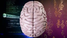 Animación del top del cerebro contra notas musicales y códigos binarios con el movimiento en sentido vertical de los datos ilustración del vector