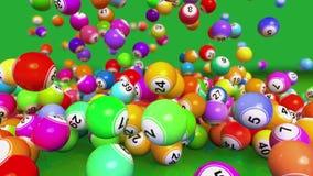 Animación descendente de las bolas de la loteria/del bingo ilustración del vector
