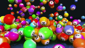 Animación descendente de las bolas de la loteria/del bingo stock de ilustración