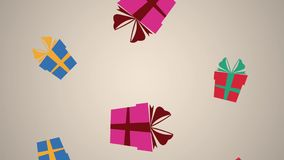 Animación descendente del fondo HD de Giftboxes ilustración del vector
