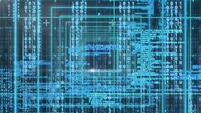 Animación digital conceptual que muestra código binario de la tecnología almacen de video