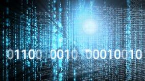 Animación digital conceptual que muestra tecnología del código binario metrajes