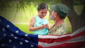 Animación digital conceptual que muestra a un niño que obra recíprocamente con el soldado americano en la vuelta del hogar almacen de metraje de vídeo