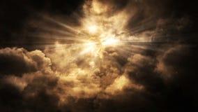 Animación divina del lazo del fondo de las luces y de las nubes almacen de video