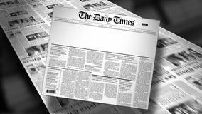 Animación en blanco del título de periódico (revele y lazo) HD almacen de video