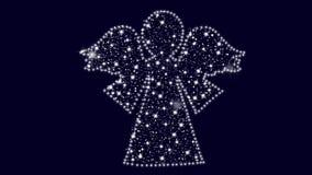 Animación en fondo azul con el ángel hecho con nieve y estrellas almacen de video