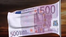 500 animación euro de la bandera 3d almacen de metraje de vídeo