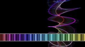 Animación fantástica con el objeto de la raya y las rayas cambiantes del color en la cámara lenta, 4096x2304 lazo 4K ilustración del vector