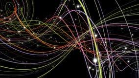 Animación fantástica con el objeto de la raya y partículas en la cámara lenta, 4096x2304 lazo 4K stock de ilustración