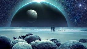 Animación fantástica de la galaxia de la tierra que sorprende y del universo con la luna ilustración del vector