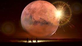 Animación fantástica de la tierra que sorprende, paisaje fantástico con el UFO stock de ilustración