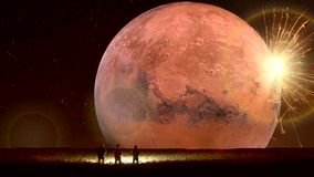 Animación fantástica de la tierra que sorprende, paisaje fantástico con el UFO ilustración del vector
