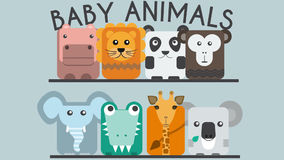 Animación feliz de los animales del bebé del parque zoológico ilustración del vector