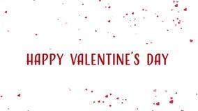 Animación feliz del día de tarjeta del día de San Valentín con la flotación de corazones rojos