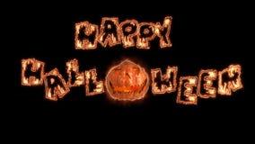 Animación feliz del fuego del título de Halloween de las palabras Fondo negro almacen de metraje de vídeo