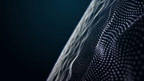Animación futurista con el objeto de la onda de la partícula y luz del centelleo en la cámara lenta, 4096x2304 lazo 4K libre illustration