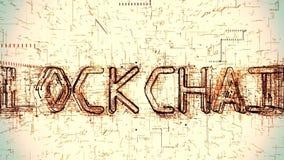 Animación futurista 3D del texto de Blockchain que es formado programando código ilustración del vector