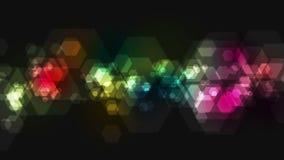 Animación geométrica colorida del vídeo de la tecnología de los hexágonos
