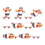 Animación gorda Sprite del patinador del muchacho Foto de archivo