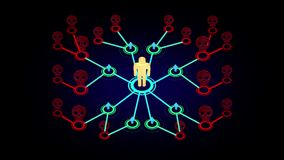 animación gráfica del movimiento 3D de la enfermedad epidémica que mata a gente o a una red llana multi de la remisión del márket libre illustration