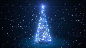 Animación hermosa 3d del árbol de navidad que crea con las partículas en colores azules Animación Defocused de Bokeh 3d de la fal metrajes