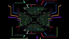 Animación inconsútil 3d de la trayectoria futurista digital del túnel con el color que cambia rejilla geométrica de la línea eléc libre illustration