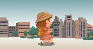 Animación inconsútil de poca muchacha de la historieta que camina en la calle con el lazo del fondo 4k de la escena de la vista d stock de ilustración