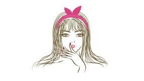 Animación inconsútil de una demostración elegante hermosa de la muchacha de la mujer de la historieta atractiva y de la expresión stock de ilustración