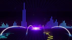 Animación inconsútil del extracto 3D del pulso del gráfico de la vibración o sismógrafo o polígrafo con el fondo del equalizador  stock de ilustración