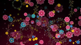 Animación inconsútil del gráfico colorido del movimiento de la flor con textura del modelo del fondo del anillo de la guirnalda d stock de ilustración