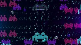 Animación inconsútil del juego del espacio del pixel de 8 pedazos o del virus de ordenador lindo que ataca su ordenador en 4k stock de ilustración