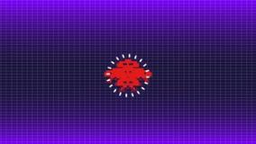 Animación inconsútil del juego del espacio del pixel de 8 pedazos o del virus de ordenador lindo que ataca su ordenador para el f stock de ilustración