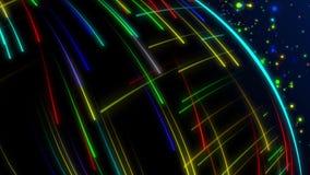 Animación inconsútil del tiroteo de rayo láser del rayo de la luz colorida abstracta del espectro en fondo de alta velocidad ilustración del vector