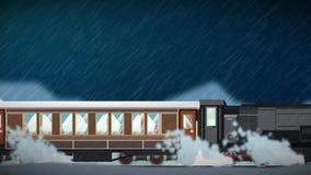 Animación inconsútil del tren de la historieta que corre con la diversas atmósfera y estación del paisaje del clima en soleado ne ilustración del vector