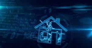 Animación inteligente del lazo del túnel del concepto de la casa IOT libre illustration
